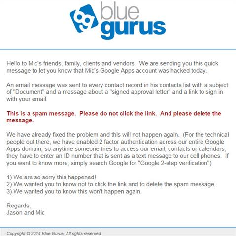 Blue Guru Email Hack Announcement