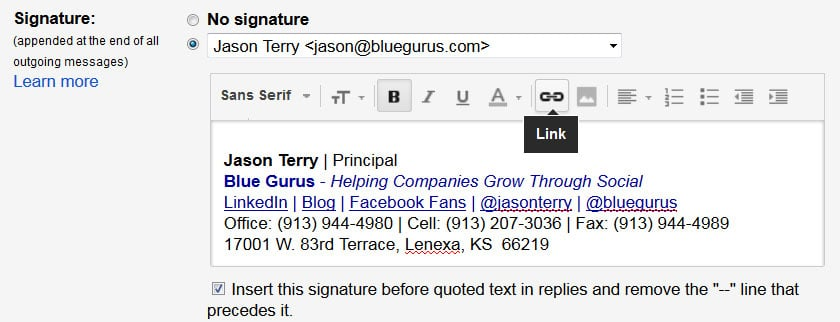 How To Add A Hyperlink To Your Google Email Signature – Blue Gurus