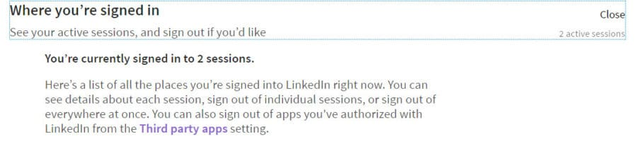 LinkedIn Active Sessions