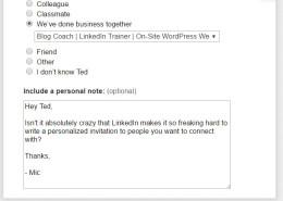 Personalized LinkedIn Invitation