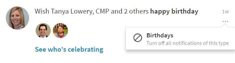 LinkedIn Birthday notification on desktop