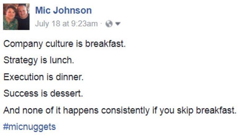 Company Culture Is Breakfast