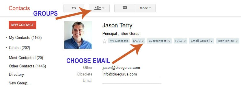 Blue Gurus: Google Contact Group