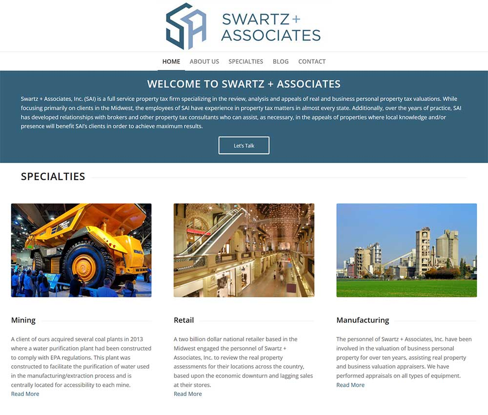 Blue Gurus: Swartz + Associates Website