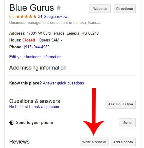 Google Review: Write a Review link on your business page