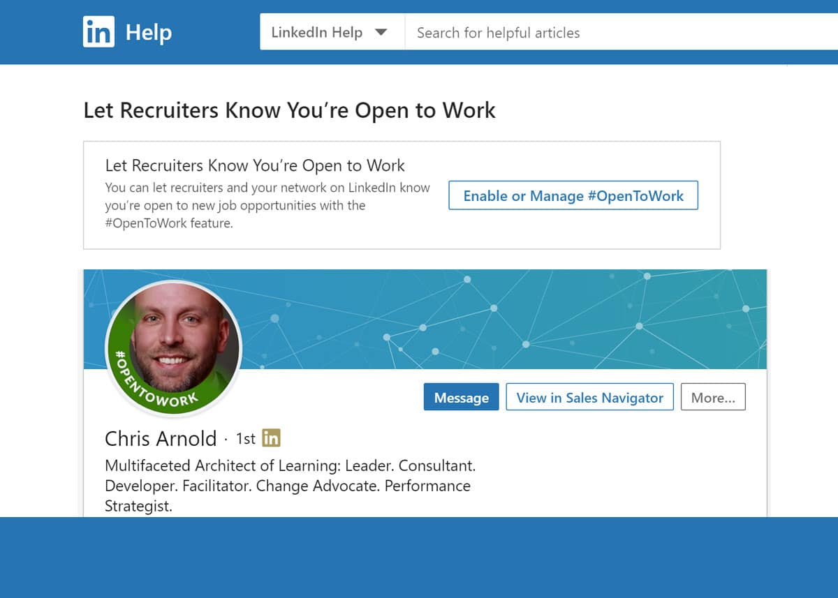 LinkedIn's #OpenToWork Feature